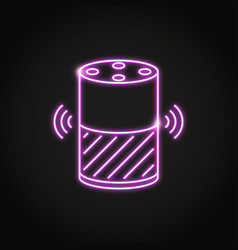 neon smart speaker icon in line style vector image