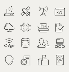 Network and servers line icons vector