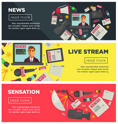 News sensation and live stream promotional vector