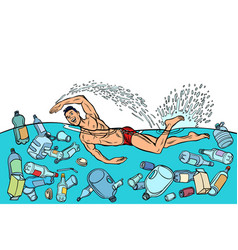 ocean pollution by plastic trash ecology concept vector image