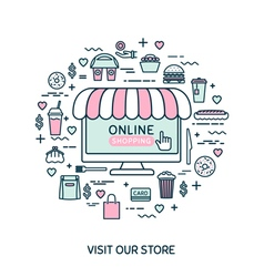 Online shopping Set with fast food vector