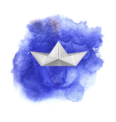 paper toy ship on blue watercolored background vector image