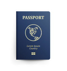 passport with map realistic vector image