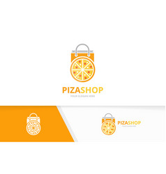 pizza and shop logo combination food and vector image