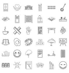 Preschool icons set outline style vector