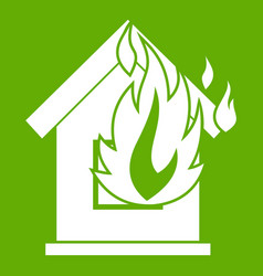 Preventing fire icon green vector