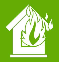Preventing fire icon green vector