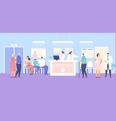 Reception and people patients in medical clinic vector