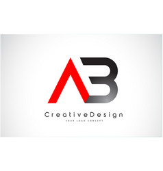 Red and black ab letter logo design creative icon vector