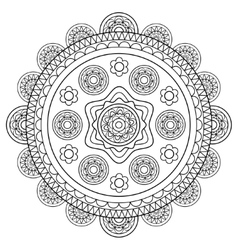 Round floral rosette in black and white vector