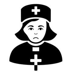 Sad church female doctor black icon vector