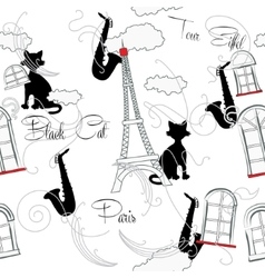 Seamless pattern with Paris music vector