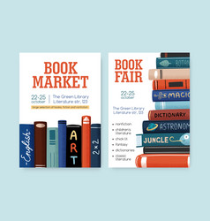 Set book market and fair posters with place for vector