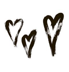 set hearts ink brush on white background vector image