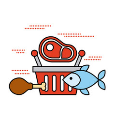 shopping basket with fish meat and chicken food vector image