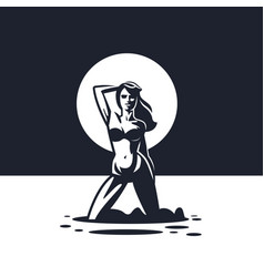 Silhouette a woman in a swimsuit vector