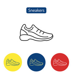 Sneakers flat fit icons vector