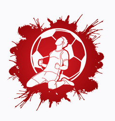 soccer player the winner action graphic vector image
