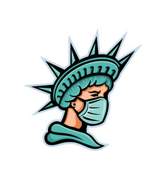 Statue liberty wearing surgical mask mascot vector