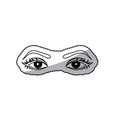 Sticker outline woman with open eyes vector