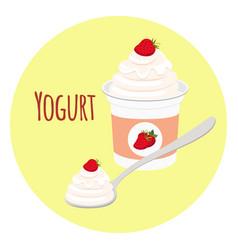 Strawberry yogurt plastic cup milk cream product vector