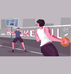 street basketball flat composition vector image