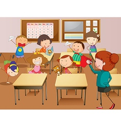 Teacher and students at school vector image