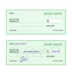 template blank bank check vector image