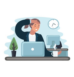 tired sad busy office worker woman character yawn vector image