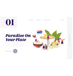 Traditional thai cuisine website landing page vector