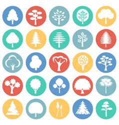 Trees icon set on color circles background for vector
