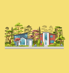 two modern family house with trees vector image