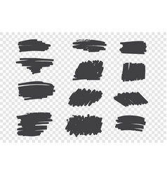 types black pencil strokes hand drawn set vector image