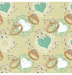 Valentine retro seamless pattern with wedding ring vector image