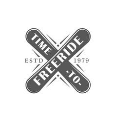 Vintage snowboarding label vector