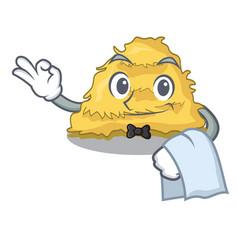 Waiter hay bale mascot cartoon vector