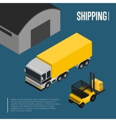 Warehouse and freight shipping isometric concept vector image