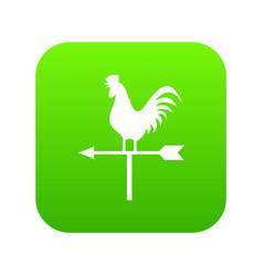 Weather vane with cock icon digital green vector