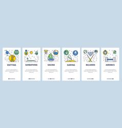 Web site onboarding screens sport games hobby vector