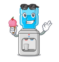 with ice cream electric water cooler against the vector image
