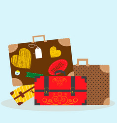with luggage -bags and vector image