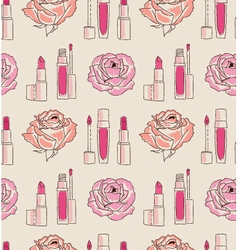 Cosmetics seamless pattern hand drawn Lipstick and vector image vector image