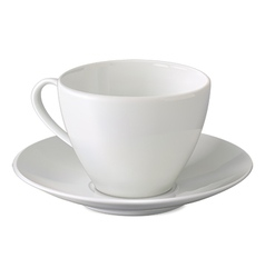 Empty white cup and saucer vector image
