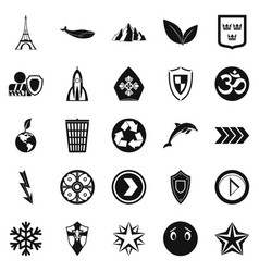 pin icons set simple style vector image