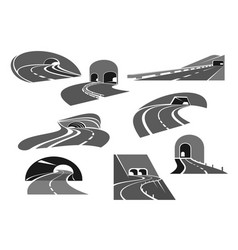 road tunnel icon set with highway and freeway vector image vector image