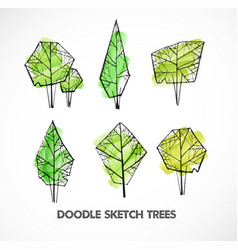 set of green doodle sketch trees on white vector image vector image
