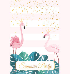 summer party template flamingo birds couple crown vector image vector image