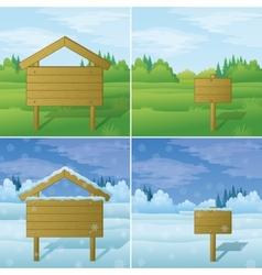 Wood sign on landscape set vector image