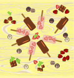 popsicles with berries and chocolate vector image