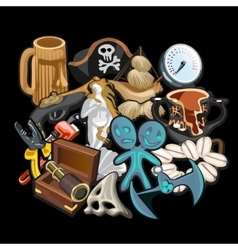 Set of pirate accessories tools and toys vector image vector image